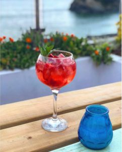 Cocktails on the terrace with gorgeous sea views