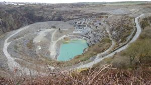 Aerial view of the Delabole Slate Quarry in Cornwall