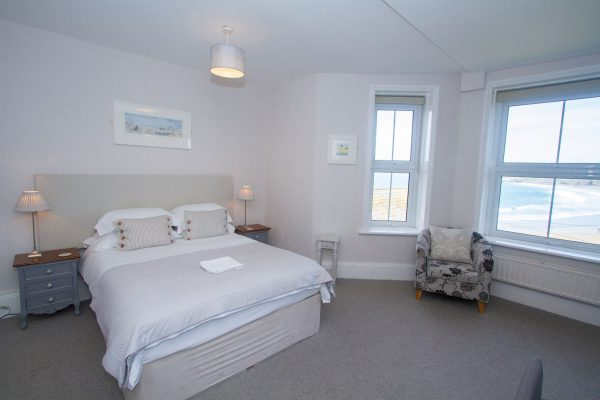 Towan Suite, light and airy with sea views through the window