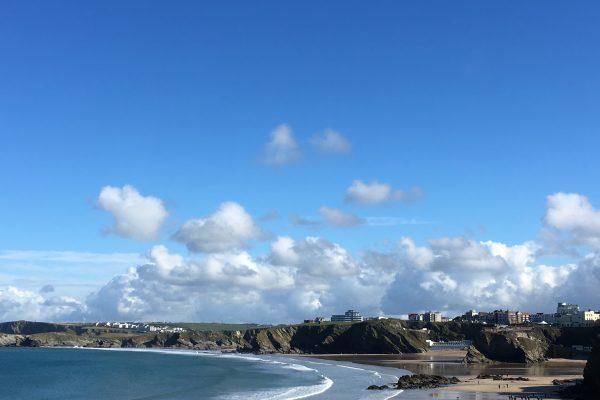 Blog photo - Towan Beach, a sand beach with bright blue sky