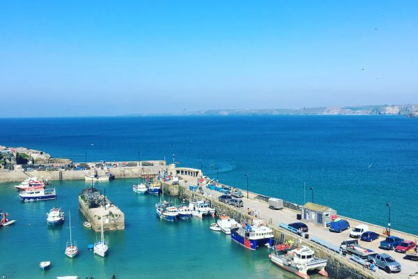 view of Newquay Harbour on a sunny day.